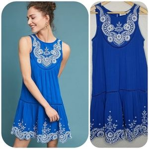Anthro Meadow Rue Embroidered Wadden Tunic Dress